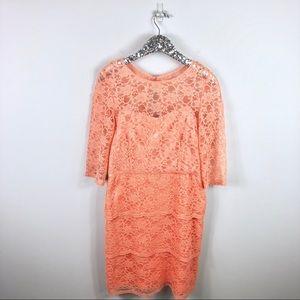 Tahari Orange Lace Dress Size 12